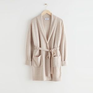 & OTHER STORIES Long Belted Shawl Collar Cardigan